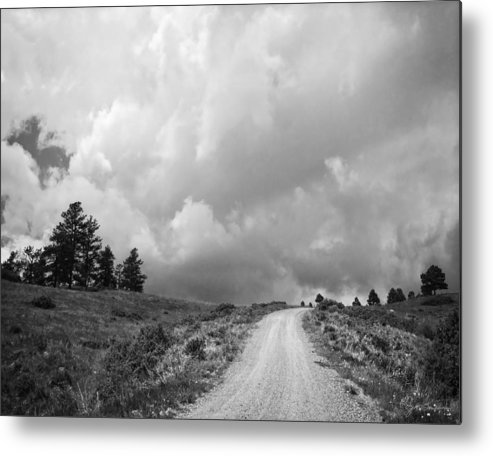 Black And White Metal Print featuring the photograph Country Road With Stormy Sky In Black And White by Julie Magers Soulen
