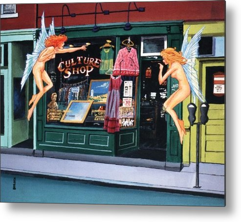 Acrylic On Canvas Board - Fantasy / Surrealism Metal Print featuring the painting Curious Shoppers by Frank Bolock