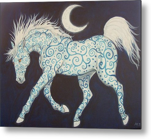 Celtic Metal Print featuring the painting Dance Of The Moon Horse by Beth Clark-McDonal