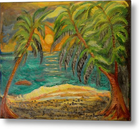 Tropical Metal Print featuring the painting Deserted Tropical Sunset by Louise Burkhardt