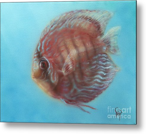 Discus Metal Print featuring the painting Discus by Troy Wilfong
