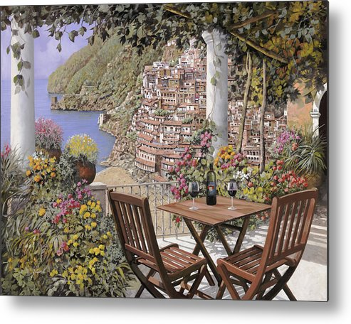 Positano Metal Print featuring the painting due bicchieri a Positano by Guido Borelli