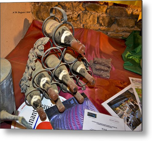 Wine Metal Print featuring the photograph Dust Covered Wine Bottles by Allen Sheffield