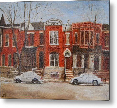 Chicago Rowhouse Metal Print featuring the painting Dusting On Dickens by Will Germino