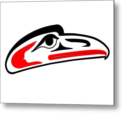Haida Point Art Metal Print featuring the drawing Eagle Mask II by Fred Croydon