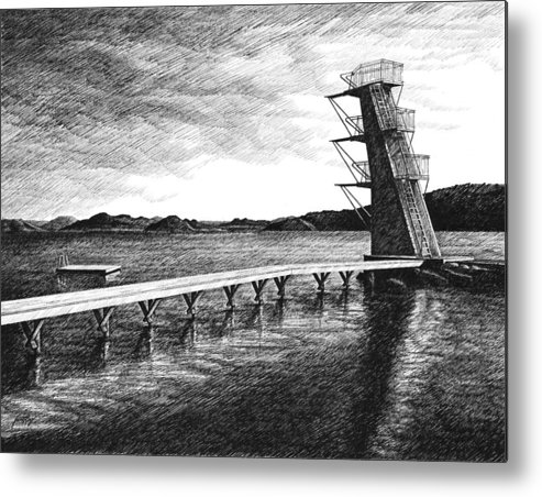 Diving Board Metal Print featuring the drawing Farsund Badehuset In Ink by Janet King