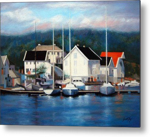 Seascape Metal Print featuring the painting Farsund Dock Scene Painting by Janet King