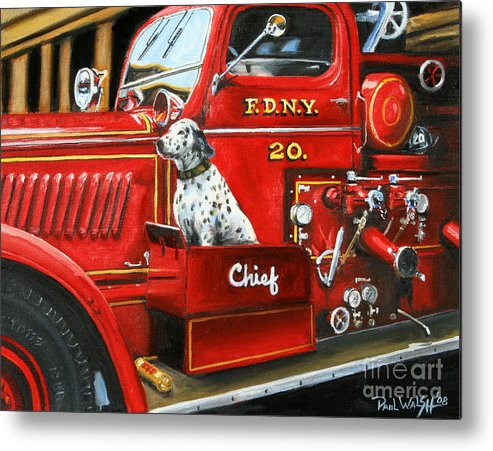 Dalmatian Metal Print featuring the painting Fdny Chief by Paul Walsh