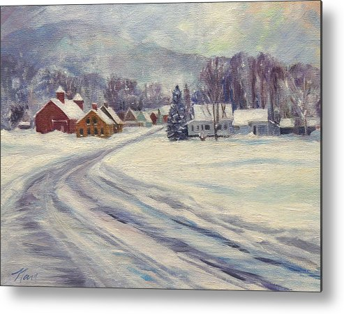 Vermont Metal Print featuring the painting Felchville Village In The Snow by Nancy Griswold