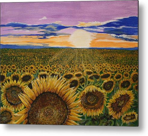 Sunflowers Metal Print featuring the painting Field Of Dreams by Karla PetersonSmith