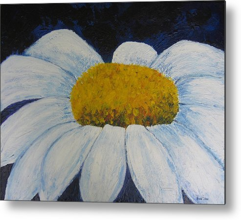 Daisy Metal Print featuring the painting First Flower by Bari Titen