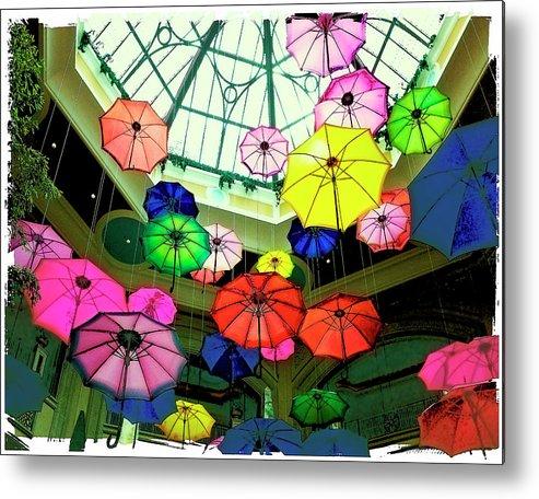 Las Vegas Metal Print featuring the photograph Floating Umbrellas In Las Vegas by Susan Stone
