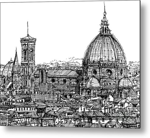 Florence Metal Print featuring the drawing Florence Duomo In Ink by Adendorff Design