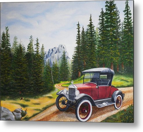 Autos Metal Print featuring the painting Ford Model T by Kristina Hauk