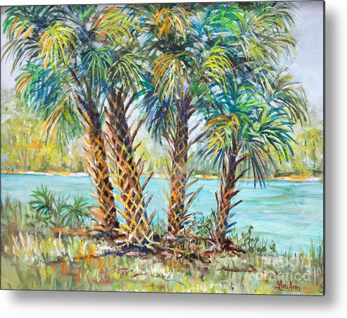Palm Trees Metal Print featuring the painting Four Palms by Lou Ann Bagnall