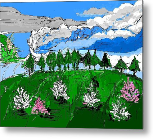 Landscape Metal Print featuring the digital art Garden Clouds by Alberto Lacoius-Petruccelli