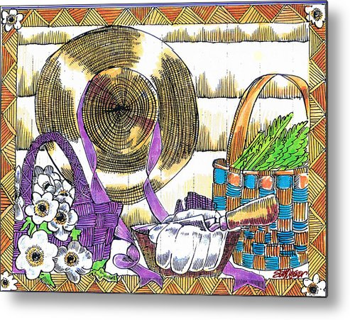 Gardener's Basket Metal Print featuring the drawing Gardener's Basket by Seth Weaver