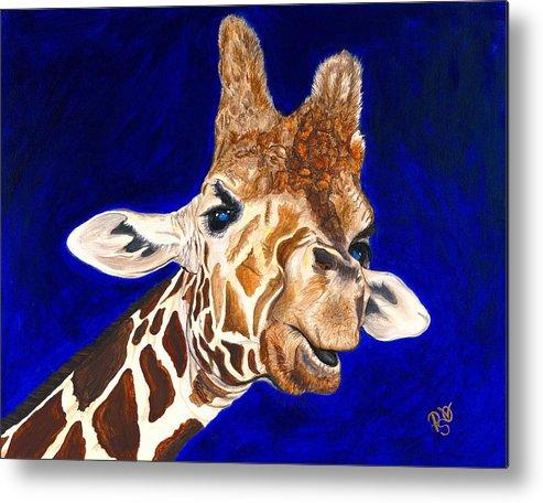 Giraffe Metal Print featuring the painting Giraffe by Patty Vicknair