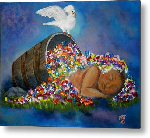 Newborn Metal Print featuring the painting God Planted A Garden by Pamorama Jones