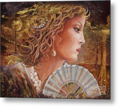 Female Portrait Metal Print featuring the painting Golden Wood by Sinisa Saratlic