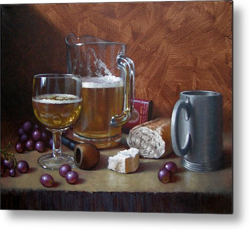 Beer Metal Print featuring the painting Good Company by Timothy Jones