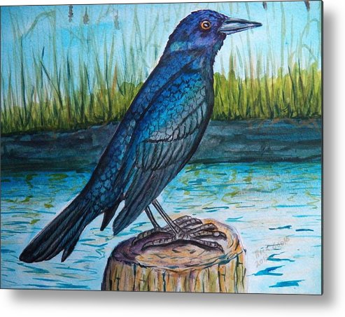 Grackle Metal Print featuring the painting Grackle By The Water by Richard Goohs