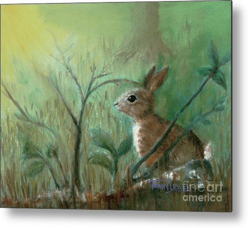Rabbit Metal Print featuring the painting Grass Rabbit by Terry Lewey