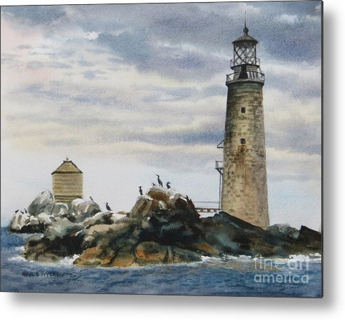 Clouds Metal Print featuring the painting Graves Light House by Karol Wyckoff