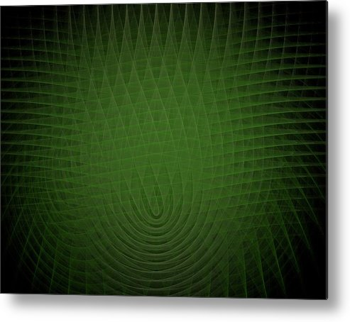 Green Metal Print featuring the painting Green Fractal Background by Bruce Nutting