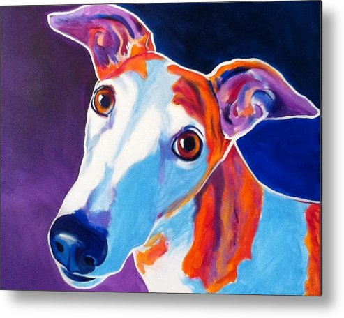Greyhound Metal Print featuring the painting Greyhound - Halle by Alicia VanNoy Call