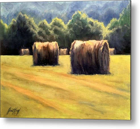 Hay Bales Metal Print featuring the painting Hay Bales by Janet King
