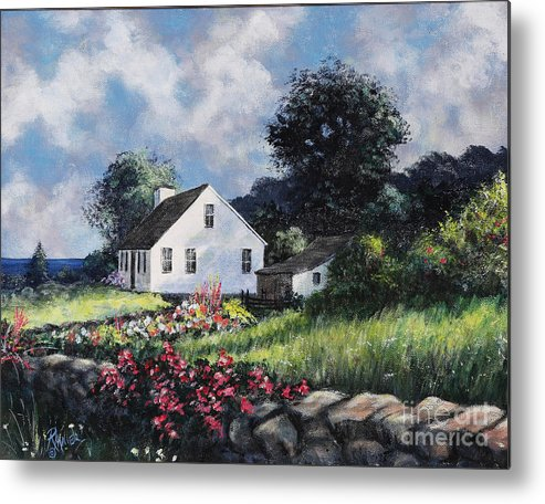 Sea Metal Print featuring the painting Home By The Sea by Rita Miller
