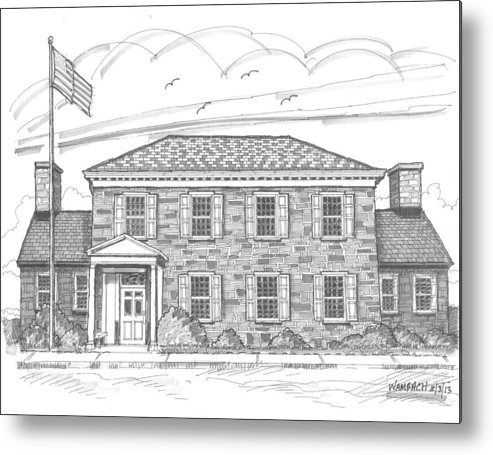 Hyde Park Metal Print featuring the drawing Hyde Park Post Office by Richard Wambach