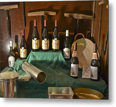 Wine Metal Print featuring the photograph Inside The Wine Cellar by Allen Sheffield