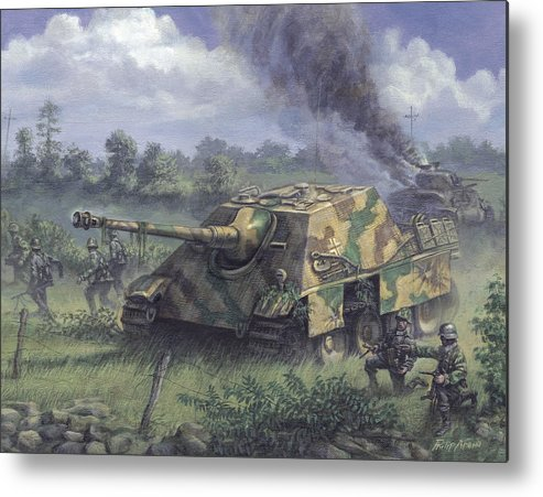 Armor Metal Print featuring the painting Jagdpanther In Normandy 1944 by Philip Arena