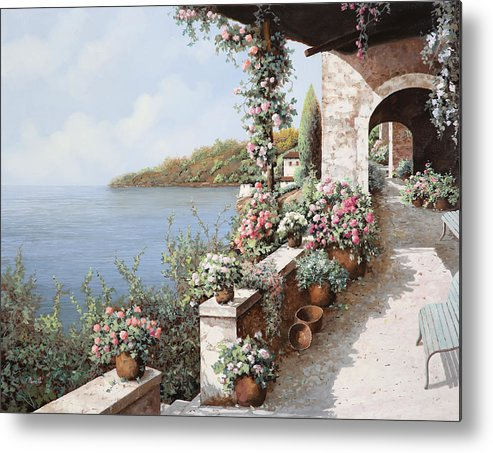 Coastal Metal Print featuring the painting La Terrazza by Guido Borelli