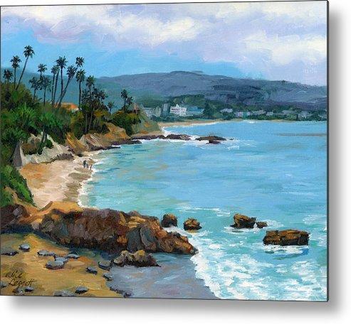 Laguna Beach Metal Print featuring the painting Laguna Beach Winter by Alice Leggett