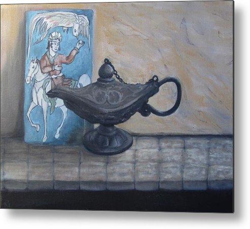 Persian Lamp Metal Print featuring the painting Lamp And Tile by Karen Stitt