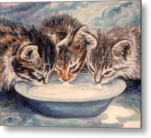 Kittens Metal Print featuring the painting Lap Of Luxury Kittens by Linda Mears