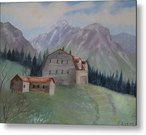 Large Barn Metal Print featuring the painting Large Barn On A Hill by June Weaver