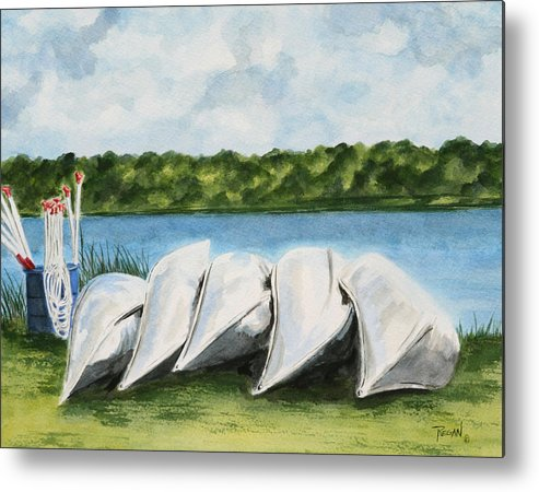 Canoes Metal Print featuring the painting Lazy River by Regan J Smith