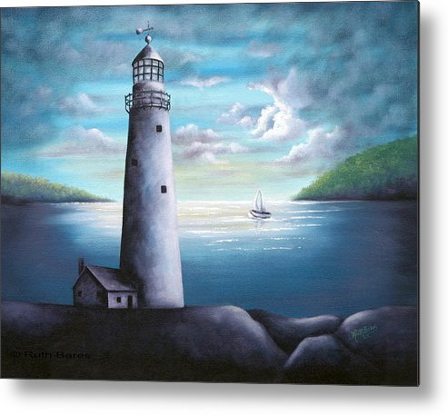 Oil Metal Print featuring the painting Lighthouse by Ruth Bares
