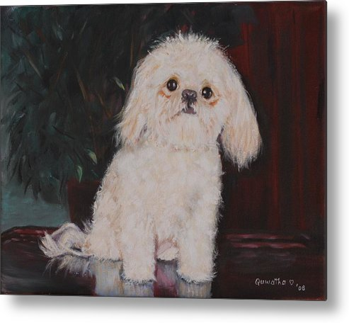 Dog Metal Print featuring the painting Lulu by Quwatha Valentine