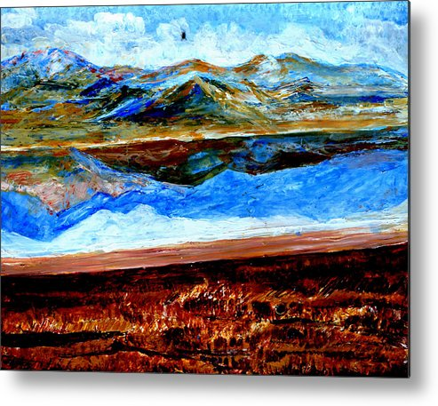 Himalayas Metal Print featuring the painting Manas Sarovr Lake-14 by Anand Swaroop Manchiraju