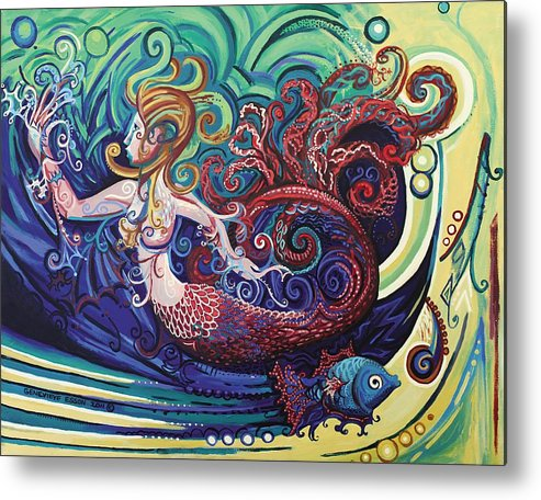 Mermaid Metal Print featuring the painting Mermaid Gargoyle by Genevieve Esson