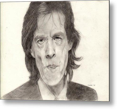 Portrait Drawing Realism Blackandwhite Rockandroll Rollingstones Legend Metal Print featuring the drawing Mick Jagger 2 by Glenn Daniels