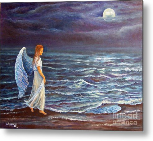 Angel Metal Print featuring the painting Missing Wing by Alina Martinez-beatriz