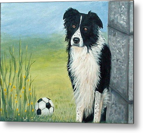 Border Collie Metal Print featuring the painting Misty by Fran Brooks