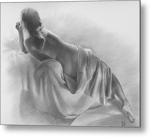 Metal Print featuring the drawing Model In Drapery 2003 by Denis Chernov