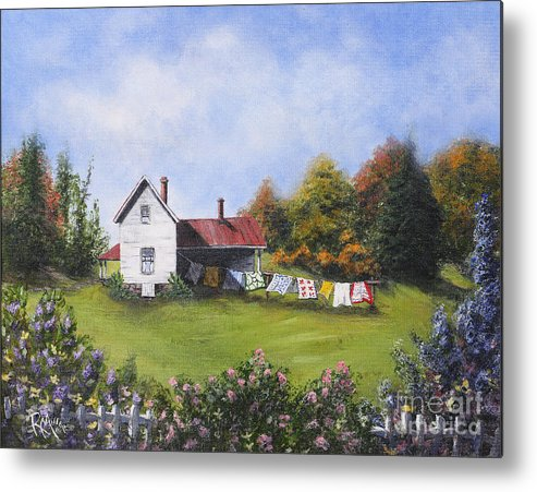 Clothes Line Metal Print featuring the painting Monday Monday Wash Day by Rita Miller